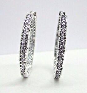Pandora Women Silver Hoop Earrings - 296319CZ mCMnXDjQC