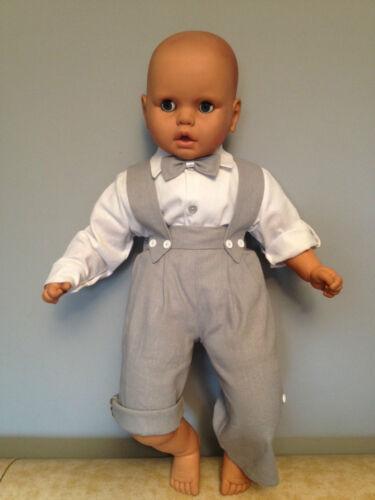 Bébé Garçon Baptême Pageboy Smart costume tenue en lin gris Dungarees Summer Set