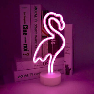 Details About Flamingo Neon Light Pink Led Signs Decoration For Kid Room Party Home Base