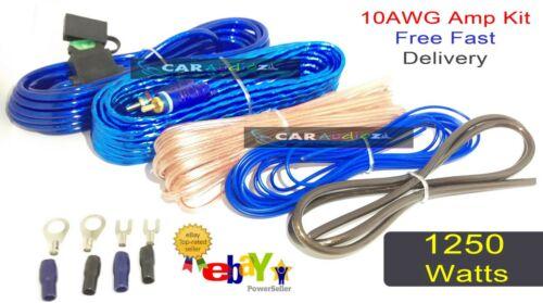Amplificador Kit de cableado 1250 vatios Potencia Coche Amp 10 AWG cable de calibre 10g Sub Bajo!!!