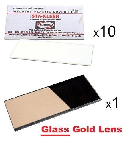 "10 Clear Hood Lens Covers 1 GLASS GOLD Shade 10 Welding Hood Lens 2/"" x 4.25/"""
