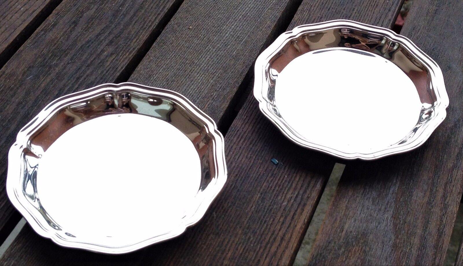2 coupelles assiettes à beurre individuelles métal argenté Christofle