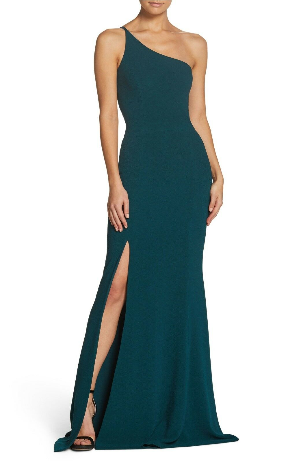 DRESS the POPULATION Bridal New Pine Amy One Shoulder Crepe Mermaid Gown XXL 18