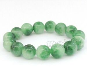 12mm-100-Natural-A-Grade-Green-Jade-Jadeite-Round-Beaded-Bangle-Bracelet