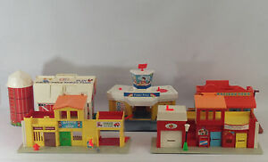 6 Fisher Price Kid's Toy Buildings Play Family Farm Village Western Town Airport