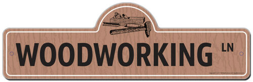 Woodworking Street Sign Funny Home Decor Garage Wall Lover Plastic Gift