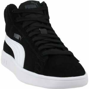 Puma-Smash-V2-Suede-Mid-Sneakers-Casual-Black-Mens