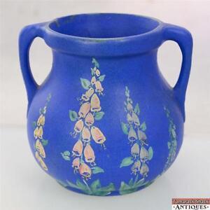 1939-Depression-Era-Blue-Double-Handled-Art-Pottery-Vase-Signed-Dorothy-Schott