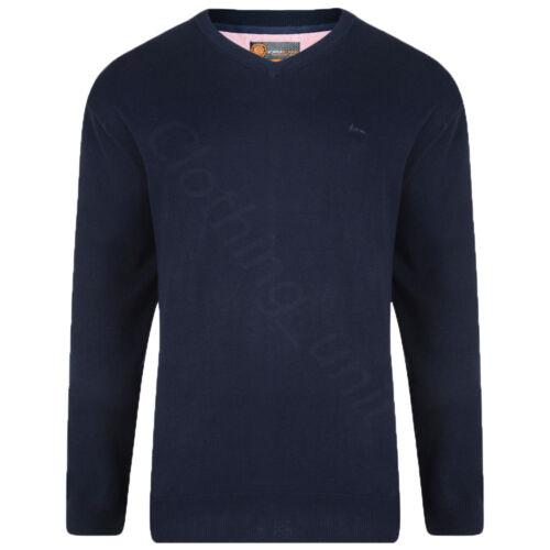 Mens KAM Plain V Neck Sweater Jumper Long Sleeve Top Big Size Casual 2XL-6XL