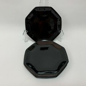 Arcoroc-Octime-Salad-Plates-Black-Glass-Octagon-Octagonal-7-1-2-034-Lot-of-6