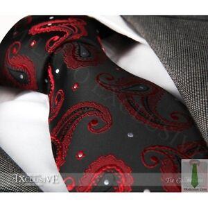 NEW ITALIAN DESIGNER RED amp BLACK PAISLEY SILK TIE - Teesside, United Kingdom - NEW ITALIAN DESIGNER RED amp BLACK PAISLEY SILK TIE - Teesside, United Kingdom