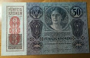 1914-AUSTRIA-HUNGARY-50-KRONEN-KORONA-NOTE-SCARCE-THIS-NICE