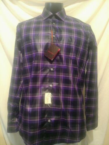 $225 Bnwt Sand Purple/black/white Plaid Cotton Slim Cotton Shirt Large(41)
