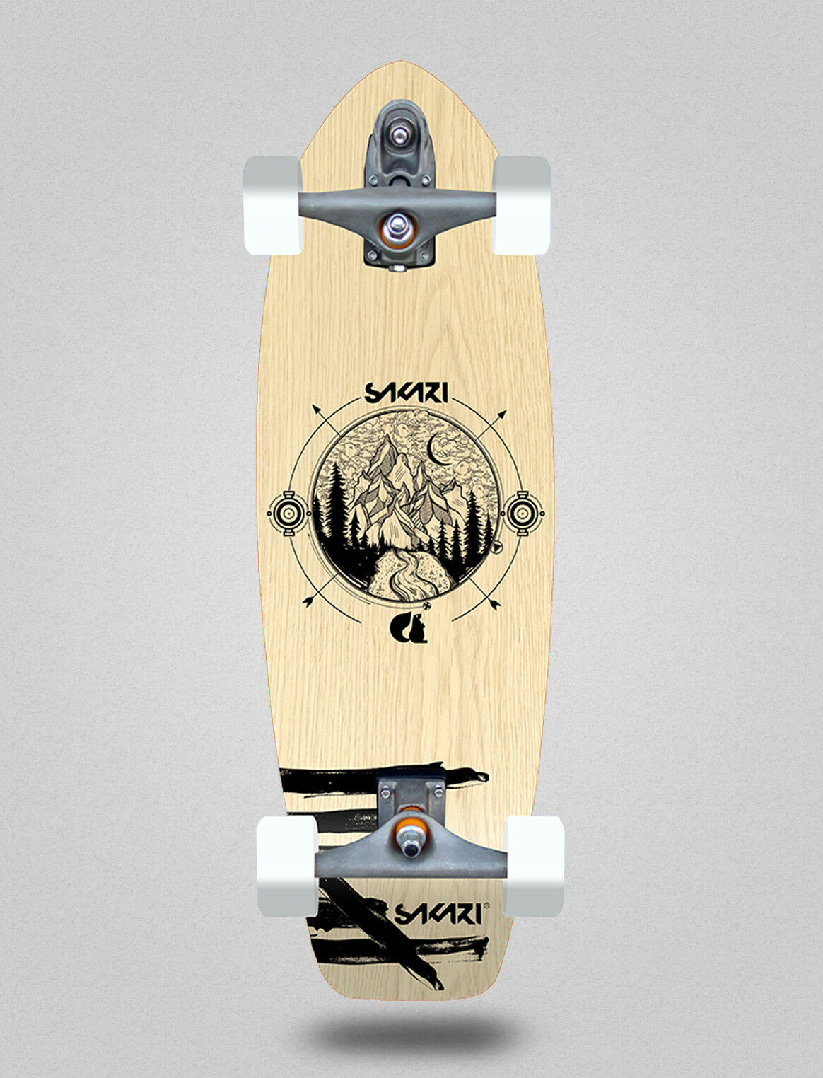 Surfskate Sakari complete with with with Glutier T12 trucks Surf skate Mountain wood 31  entrega gratis