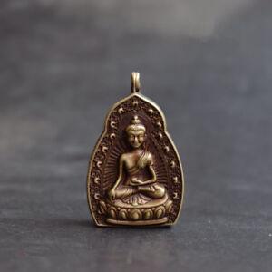 Collection-old-Asian-Antiques-archaize-brass-Sakyamuni-Buddha-Small-box-pendant