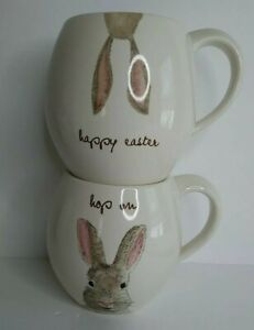 Rae Dunn Set of 2 Happy Easter Bunny Ears/ Hop on Mugs Cup Spring Rabbit NWT