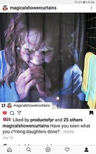 Sample-Prototype-Fan-Painting-The-Exorcist-Shower-Curtain-Linda-Blair-Horror