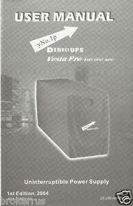 Detalles acerca de Directo De Ups Vesta Pro 400 600 800 Manual De Usuario  yno 1 P propietarios guía fuente de alimentación- mostrar título original