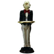 Snobby Butler Statue 3 Foot Wine Waiter With Gold Leaf Tray And Tuxedo