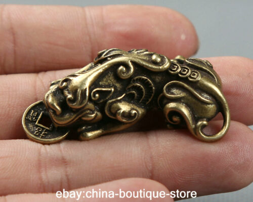 46MM Small Curio Chinese Bronze Animal Pixiu Pi Xiu Unicorn Beast Wealth Pendant