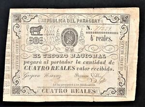 PARAGUAY-4-REALES-RAREST-VALUE-of-1865-WAR-of-the-TRIPLE-ALLIANCE-Pick-20