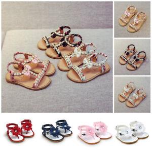 Baby-Kids-Girl-Bow-Pearl-Crystal-Roman-Sandals-Shoes-Flower-Crib-Prewalker-Shoes
