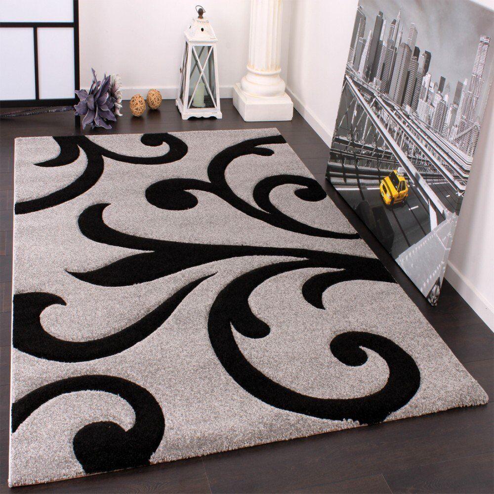 Moderne Gris Tapis Tapis Tapis Noir Motif Floral Designer Chambre Tapis Hall Runner | Facile à Nettoyer Surface  4a5a4a