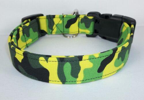LIME GREEN KICKIN URBAN CAMO Terri/'s Dog Collar hand made adjustable fabric