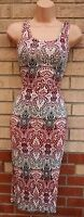 NEW LOOK BURGUNDY BLACK WHITE FLORAL PENCIL TUBE BODYCON SUMMER DRESS 8 S