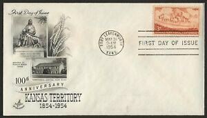 #1061 3c Kansas Territory, Arte Craft-Addressed FDC Cualquier 5=