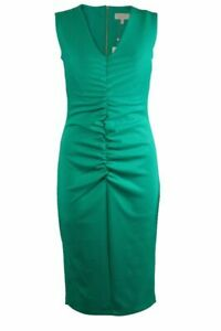 Womens-Ladies-Coast-Forest-Green-Ruched-Front-Sleeveless-Scuba-Fitted-Dress
