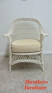 Antique Victorian Hartshorn Wicker Patio Living Room Arm Chair B