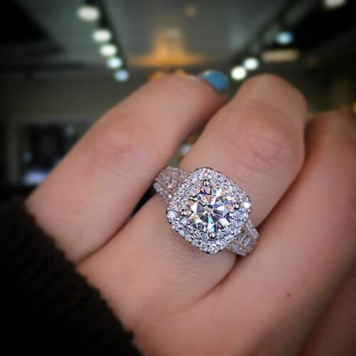 solid 14k white gold 2ct dvss1 diamond round cut halo solitaire engagement ring