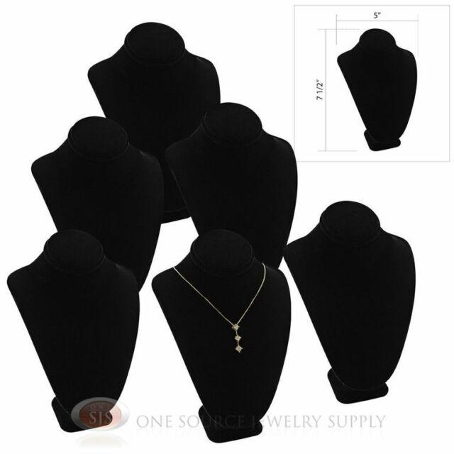 "(6) 7 1/2"" Pendant Necklace Black Velvet Neck Form Jewelry Presentation Display"