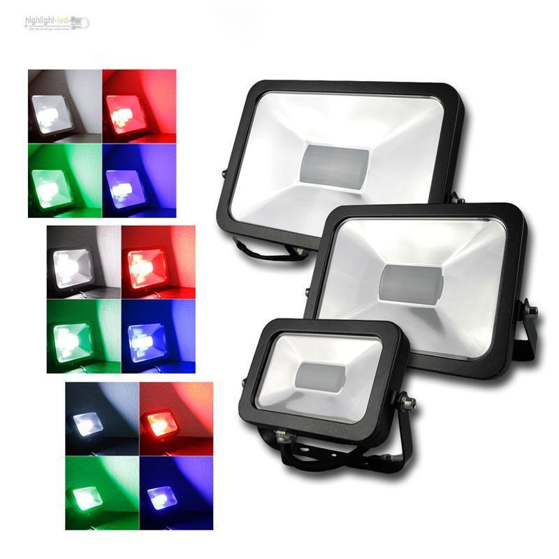 LED Fluter SLIM RGB mit Fernbedienung IP44 10 30 50W black anthrazit Strahler