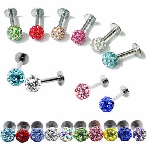 16G Surgical Steel Crystal Ball Lip Monroe Labret Tragus Bar Rings Piercing Stud