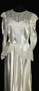 RARE-VINTAGE-1940-039-S-WHITE-RAYON-LIQUID-SATIN-WEDDING-DRESS-WITH-LACE-SIZE-6