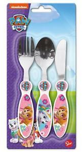 Paw Patrol Fille 3 Pièce Métal Set De Couverts Pour Enfants-couteau, Fourchette Et Cuillère-afficher Le Titre D'origine Facile à RéParer