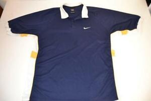 buy online d14b5 4fbb1 Image is loading NIKE-GOLF-TIGER-WOODS-NAVY-BLUE-DRY-FIT-