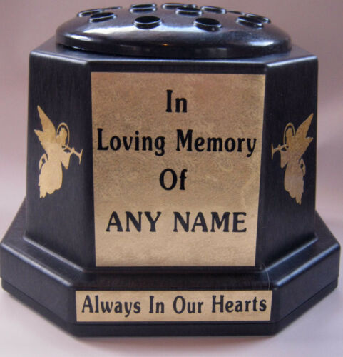 Memorial Vase Pot Grave Cemetery Black Gold Angels Personalised Any