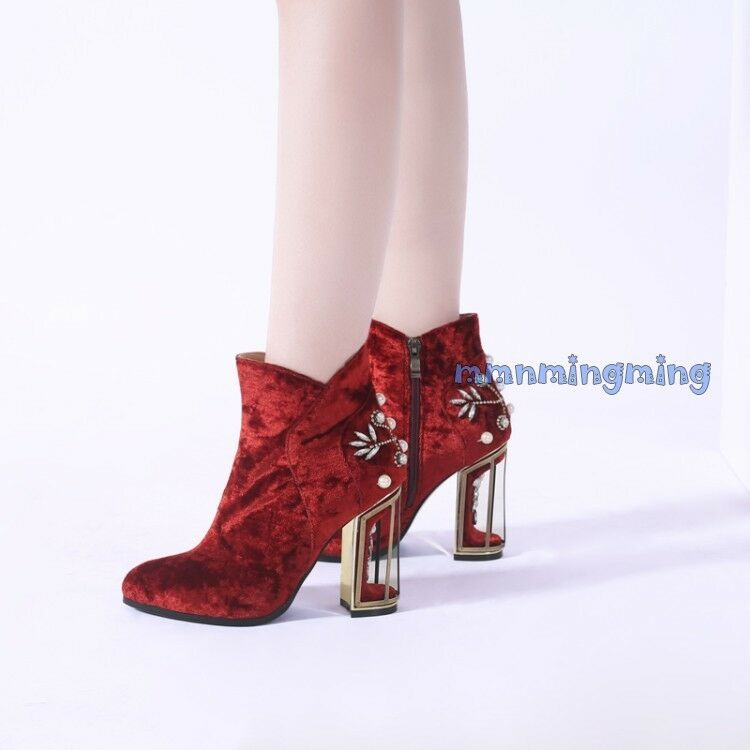 New Donna Rhinestone Floral Zip Block Heels Ankle Stivali Suede Shoes Round Toe Shoes Suede sz 51a482