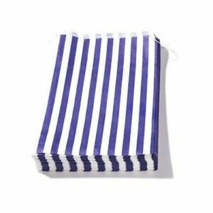 Details about 100 PACK Blue n White Candy Striped Paper Bags 13 x 14
