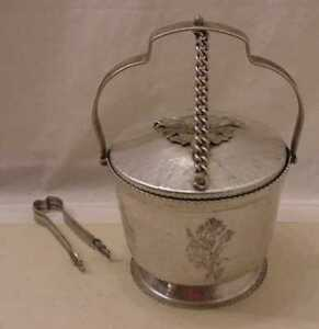 VINTAGE-HAMMERED-ALUMINUM-RODNEY-KENT-ICE-BUCKET-WITH-TONGS
