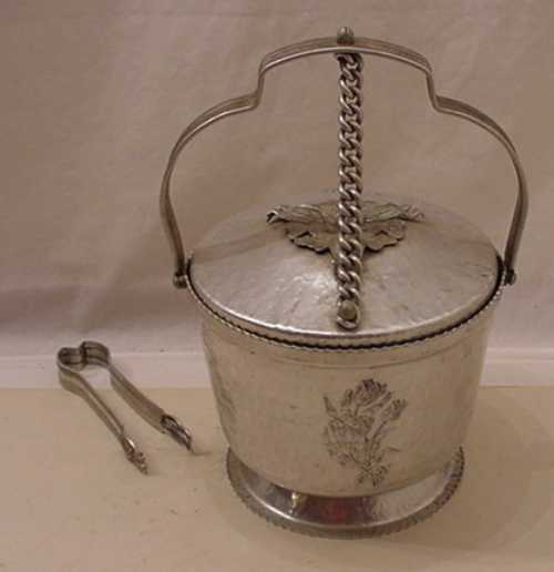 VINTAGE HAMMERED ALUMINUM RODNEY KENT ICE BUCKET WITH TONGS