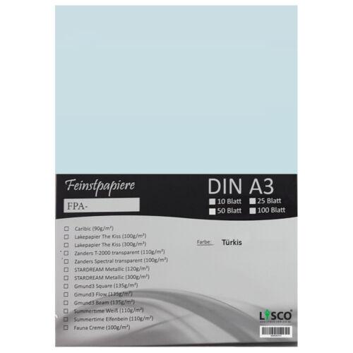 FPA-124 50 Blatt DIN A3 Gmund Transparentpapier 100g Farbe türkis transparent