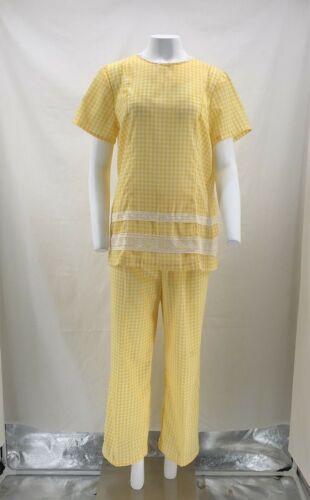 VINTAGE 1950's  Pant Set Yellow Gingham Matching S