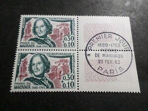 à Condition De France 1963, Paire Timbres 1372 Marivaux Celebrite', Oblitéré Fdc 1° Jour