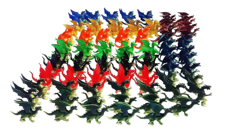 100 Pcs Plastic Fire Breathing - Mini Dragons 2.5