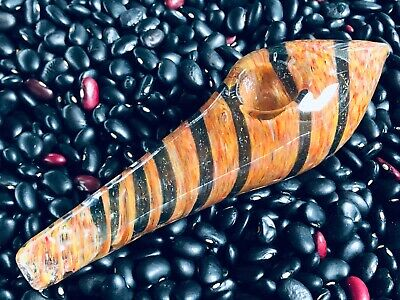 """Collectible 5/"""" Inch Brown W//Dichro Strip Glass Hand Pipe Mouth Pipes NEW!"""