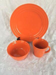 Rachael Ray Double Ridge Orange Dinner Plate Cereal Bowl & Mug 3 Pcs ...